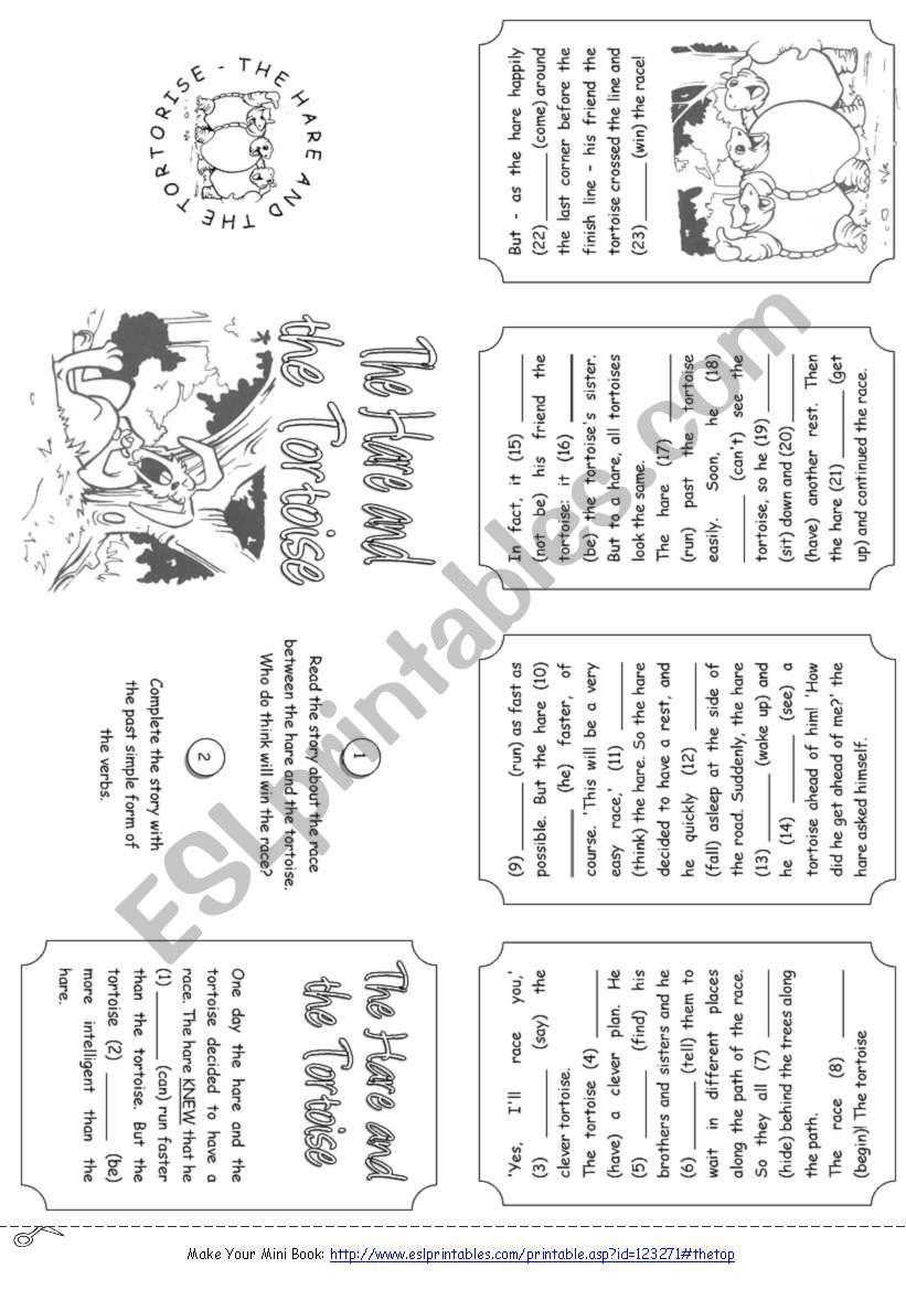 The Hare And The Tortoise Story Mini Book Esl Worksheet By Alenka
