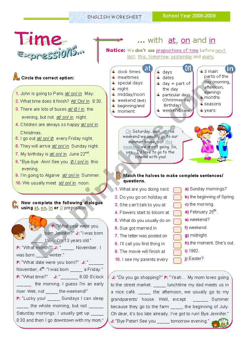 TIME Expressions  - At/ On/ In  - Basic rules for Upper elementary and Intermediate students