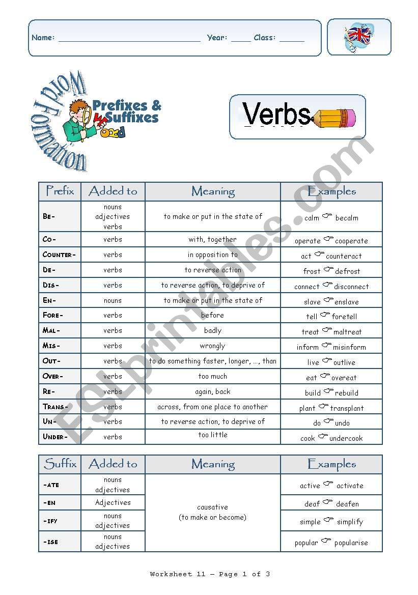 Prefixes and Suffixes-Verbs worksheet
