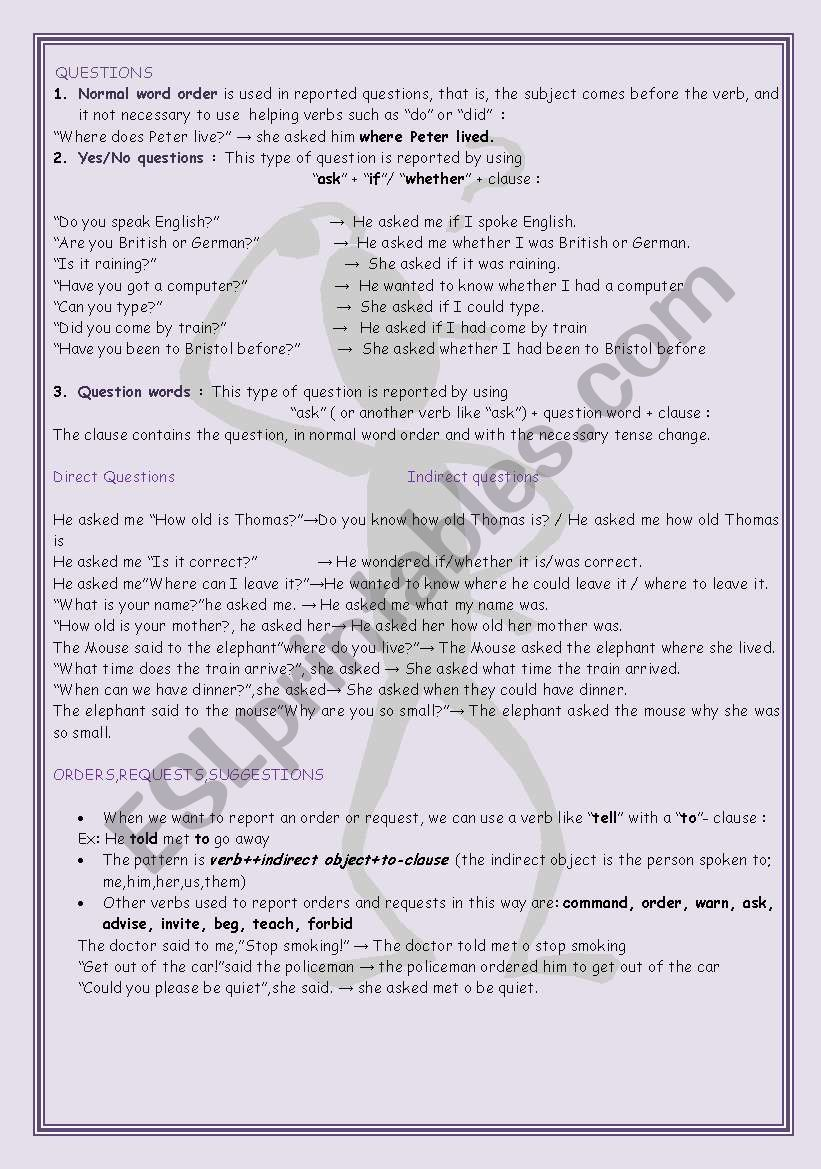 Direct&Indirect Questions worksheet