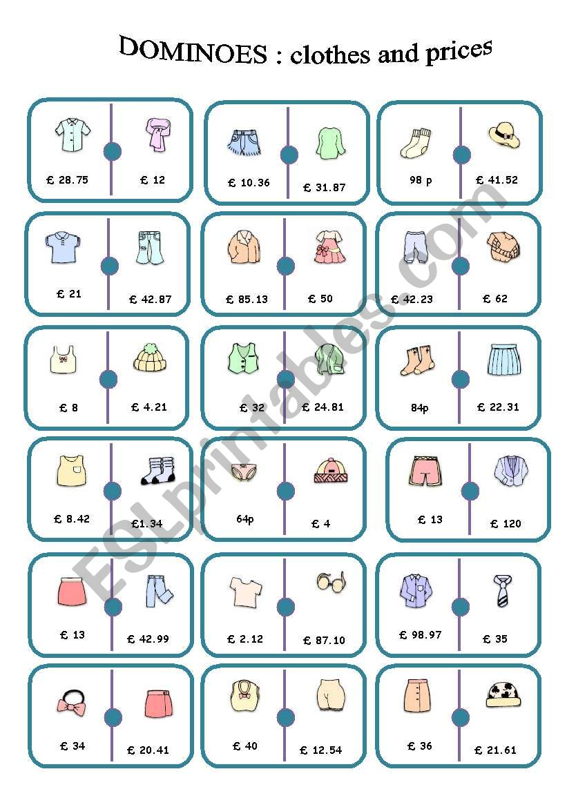 dominoes clothes an prices - ESL worksheet by storyteller