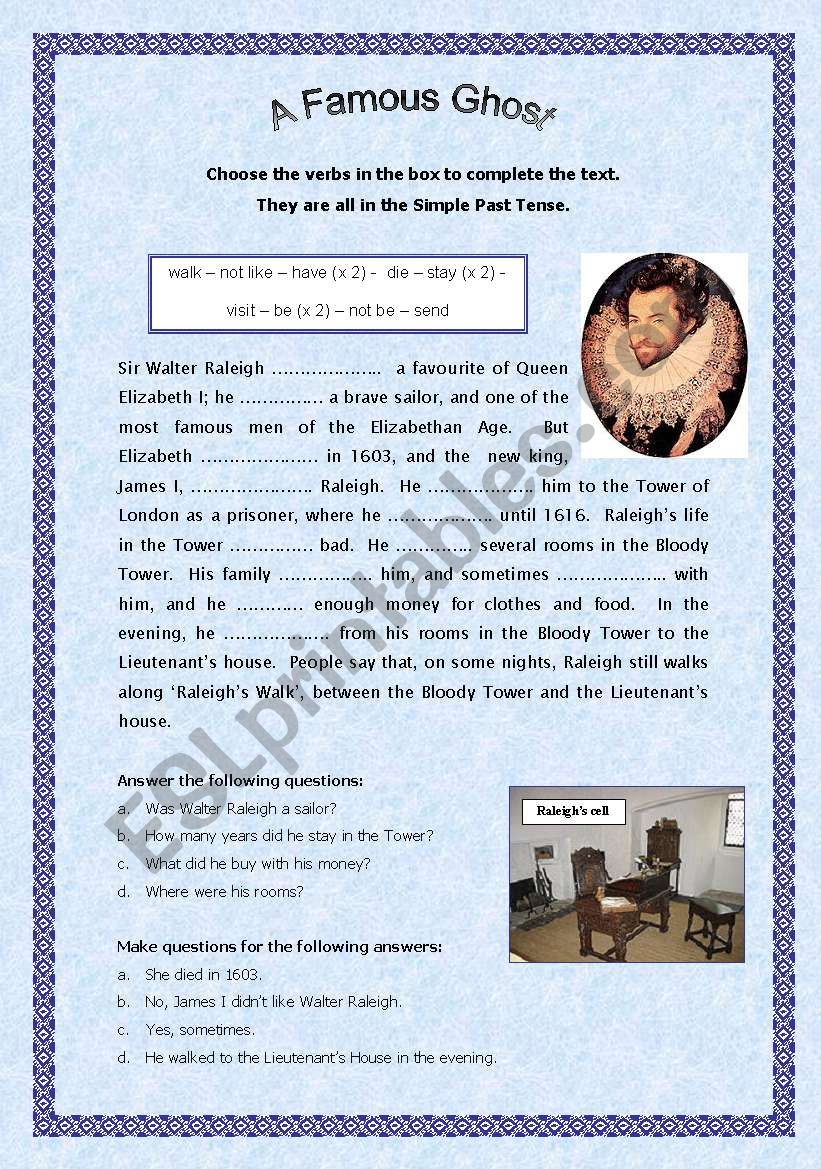 A famous ghost - Revising the simple past tense
