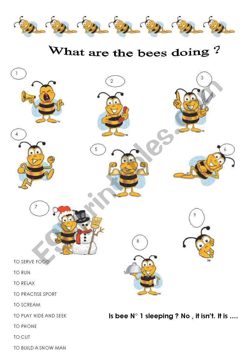 what are the bees doing worksheet