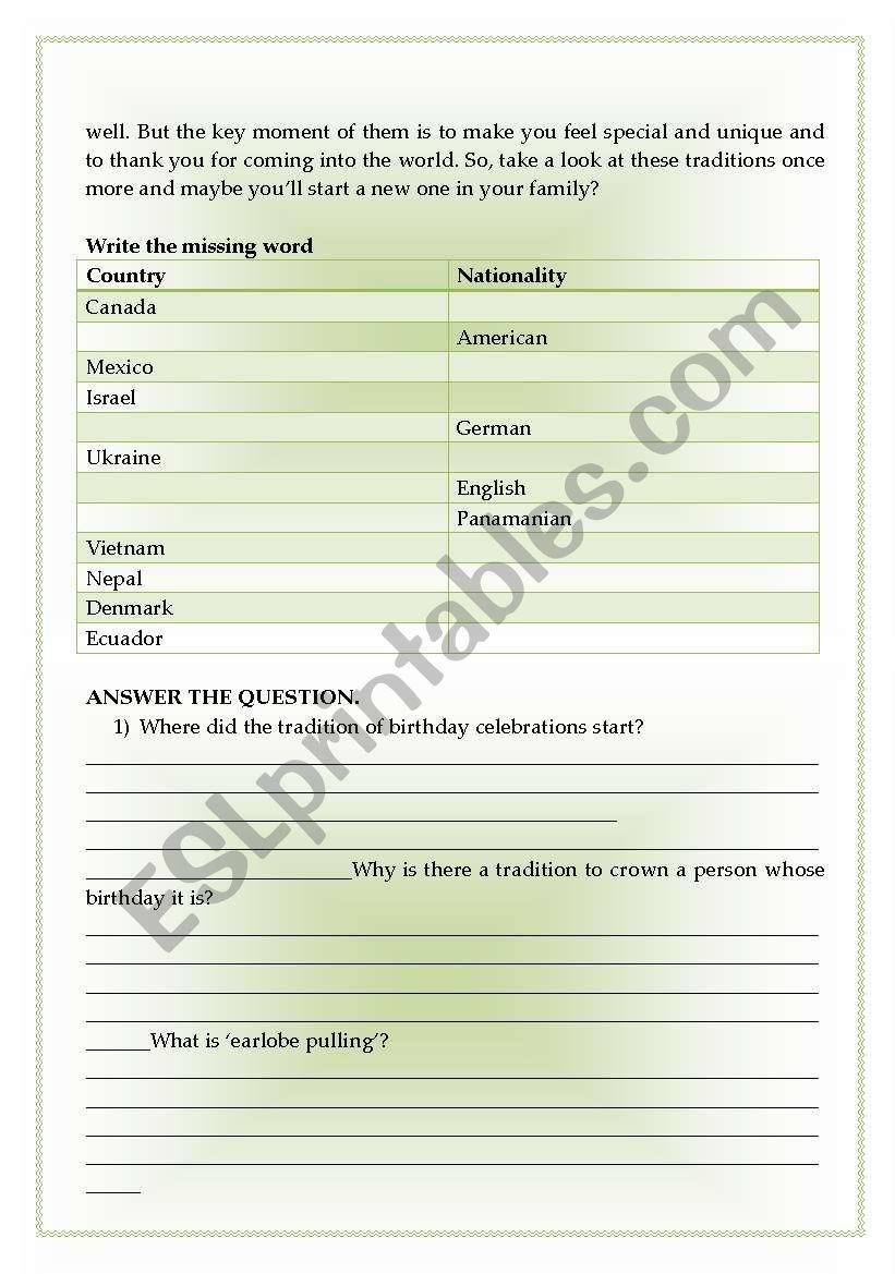 Spanning the Globe  Birthday Traditions  - ESL worksheet by