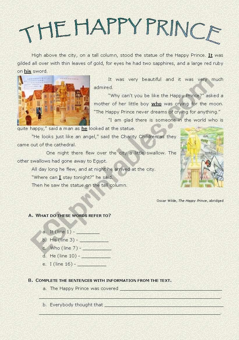 The Happy Prince Esl Worksheet By Paulaesl