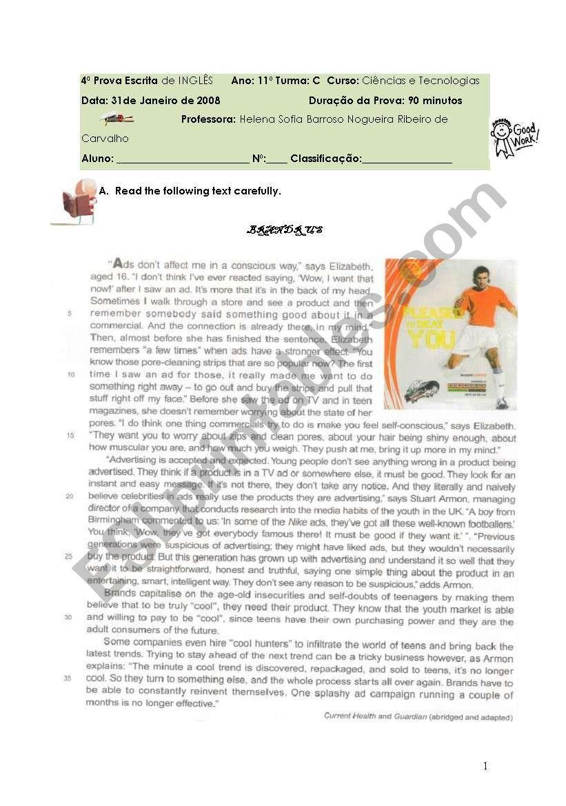 test on brand worksheet