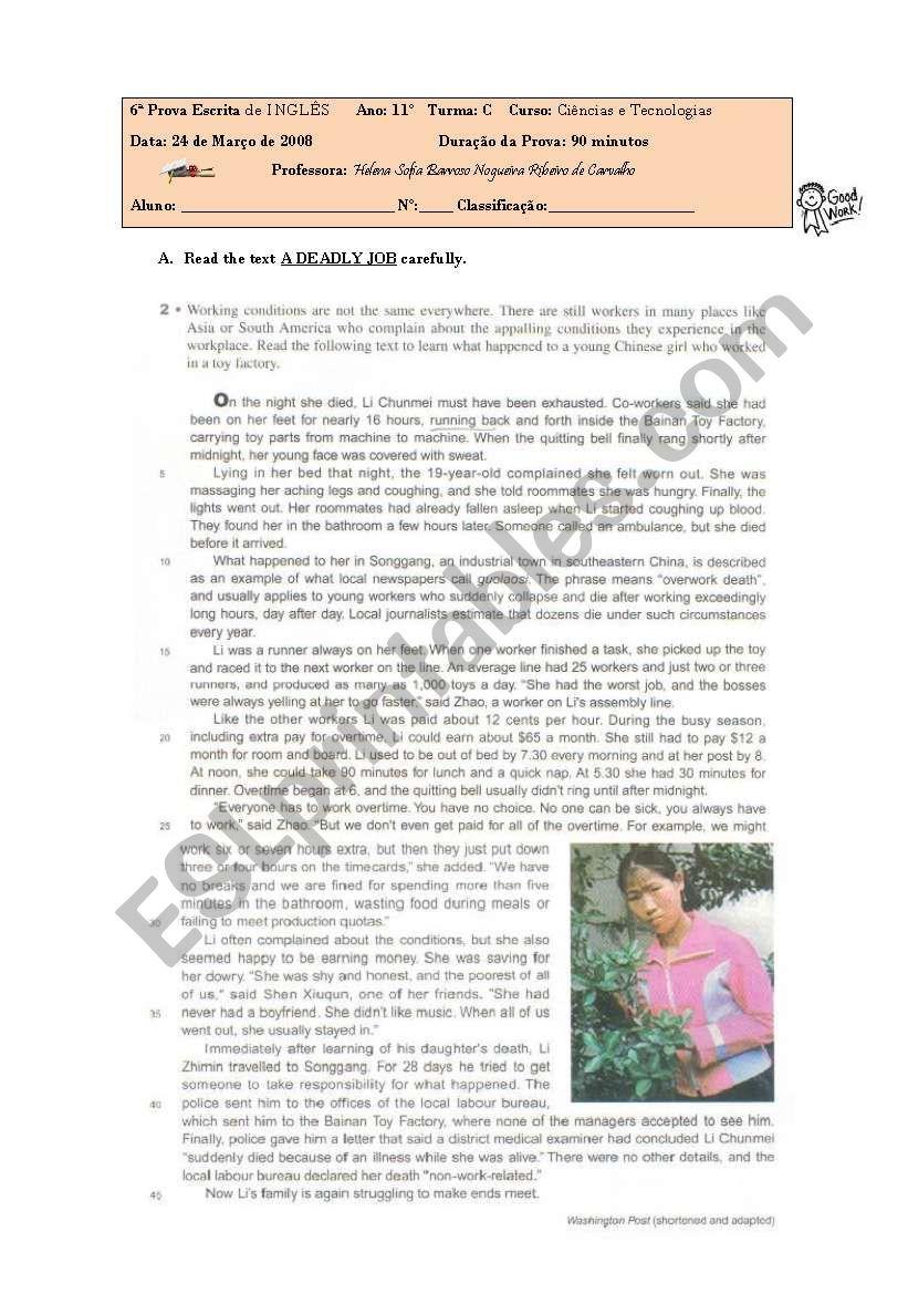 test on child labour worksheet