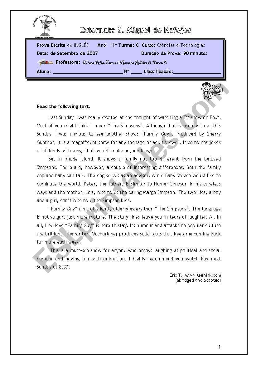 Test ( diagnostic) worksheet