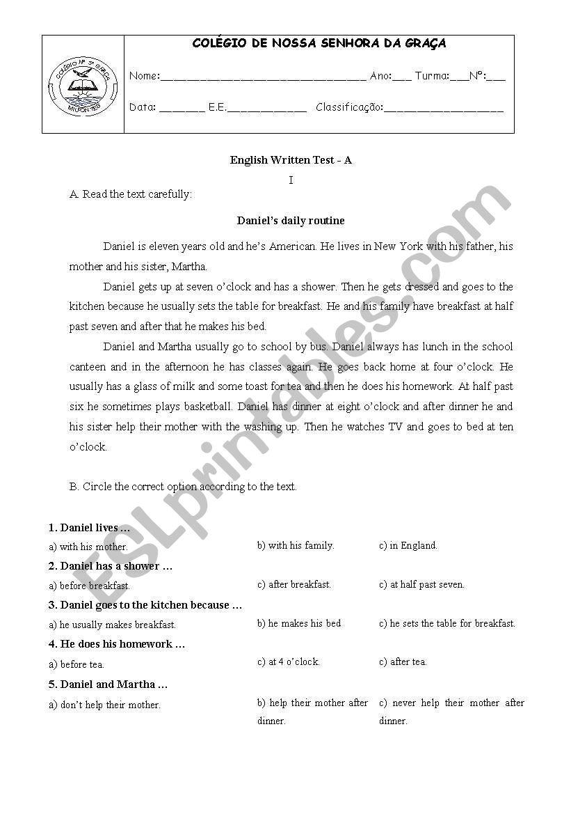 Test -6th grade worksheet