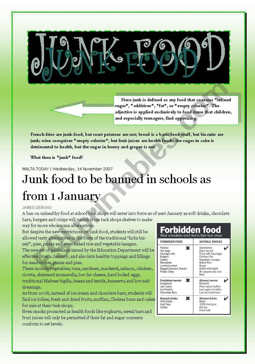JUNK FOOD  (4 pages) worksheet