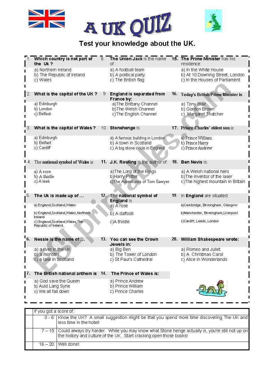 a uk quiz worksheet