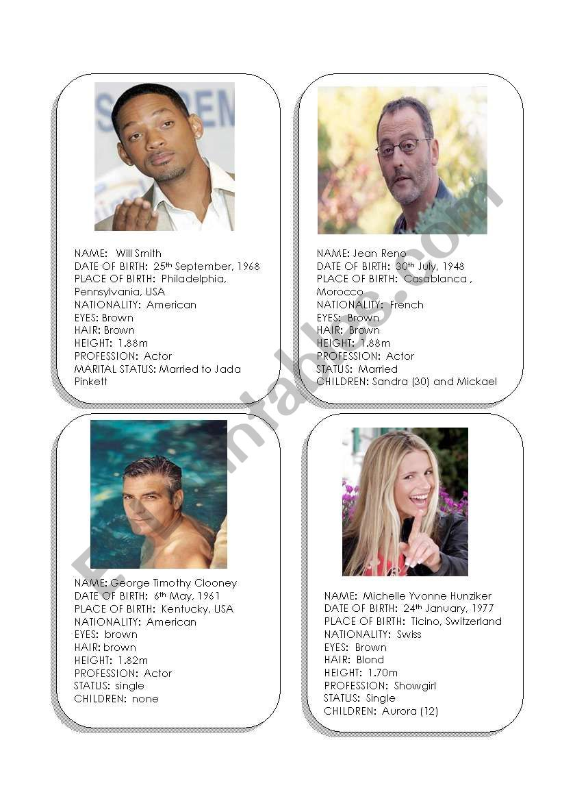 Celebrity Cards worksheet