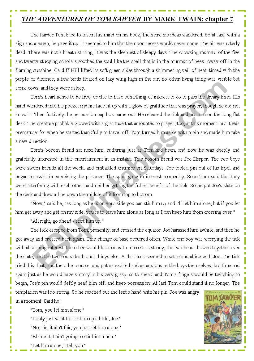 TOM SAWYER - reading worksheet
