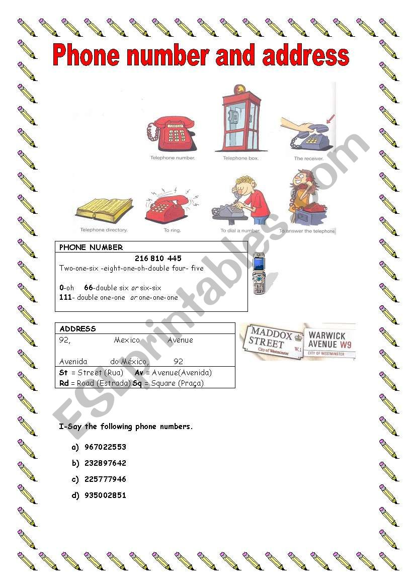 Phone Number And Address Esl Worksheet By Sandra Cunha