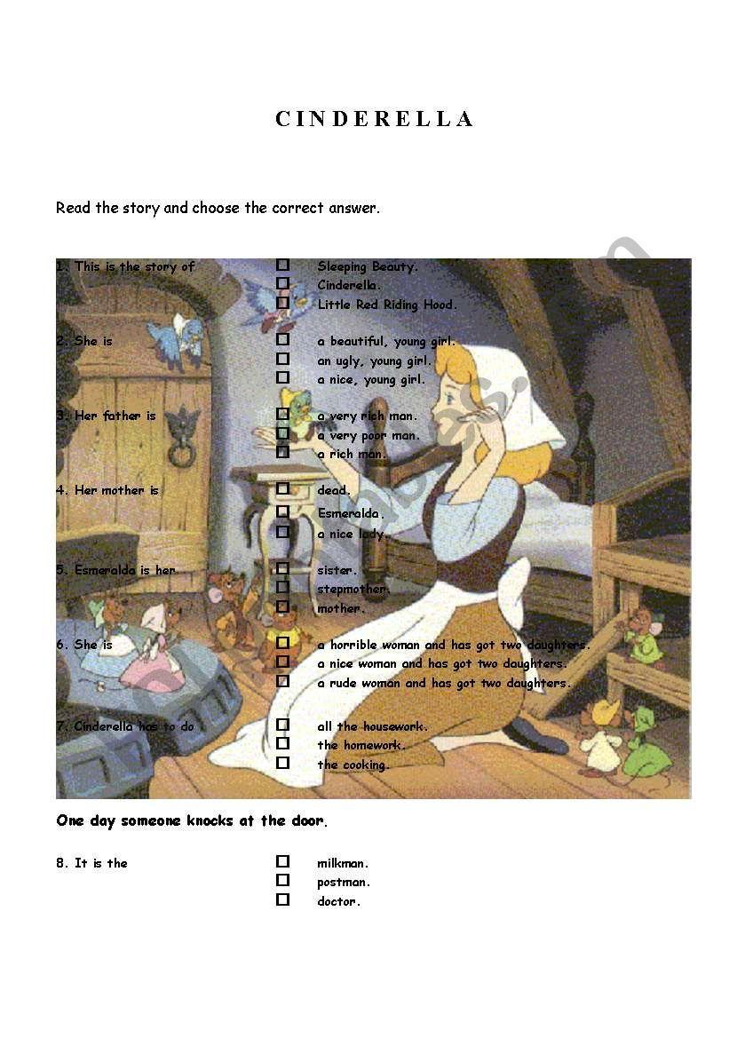 THE STORY OF CINDERELLA worksheet