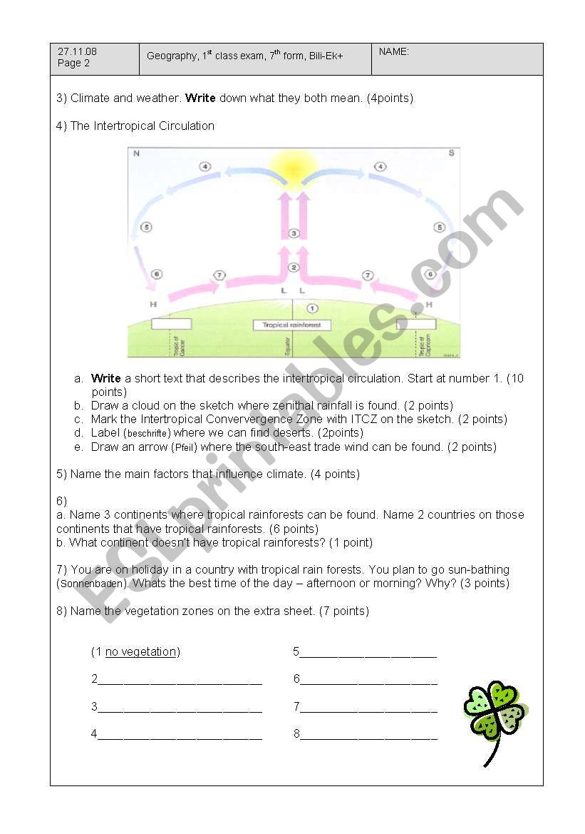 English worksheets: class test earth in space, intertropical