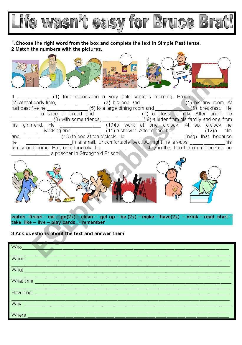 IT WASN´T EASY FOR BRUCE BRAT worksheet