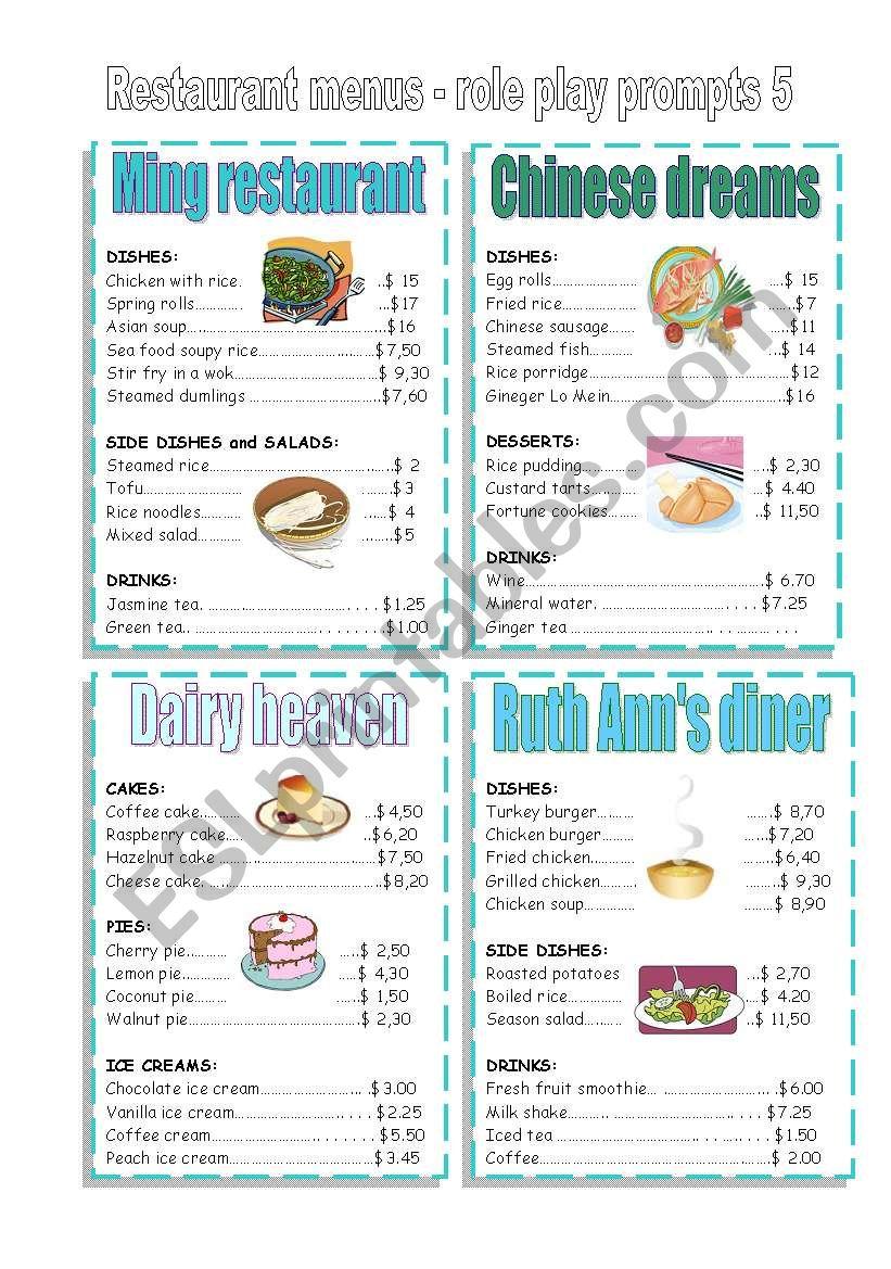CONVERSATION CARDS - restaurant menu 5