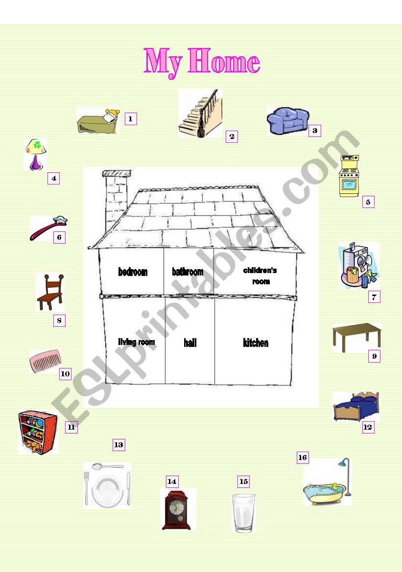 My Home Esl Worksheet By Timeah
