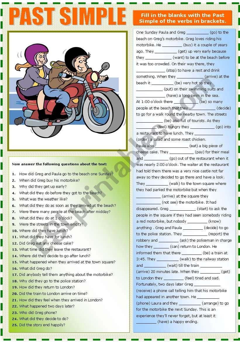 Paula and Greg (PAST SIMPLE) worksheet