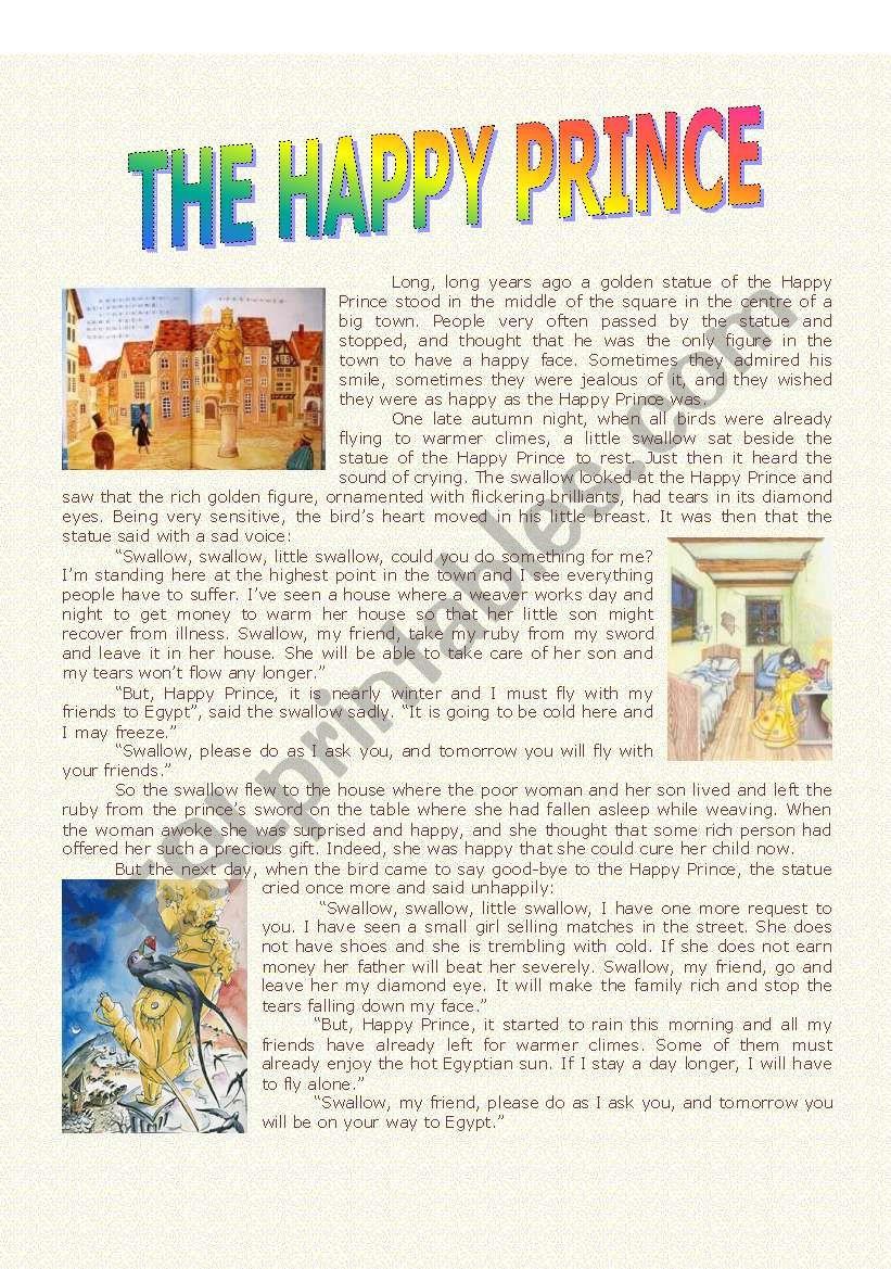 The Happy Prince Complete Story Esl Worksheet By Paulaesl