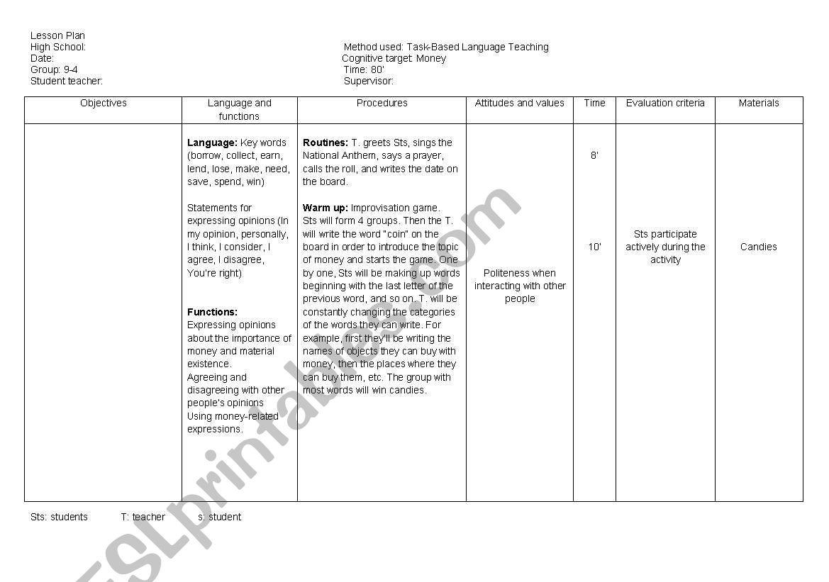 LESSON PLAN: Task-Based Language Teaching - ESL worksheet by