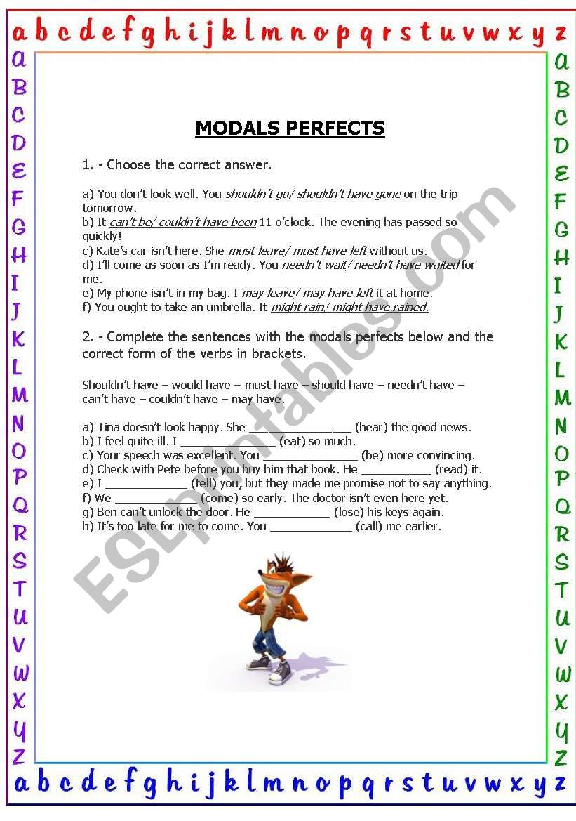 Modal perfects worksheet