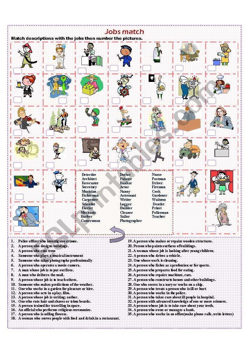 Jobs match worksheet