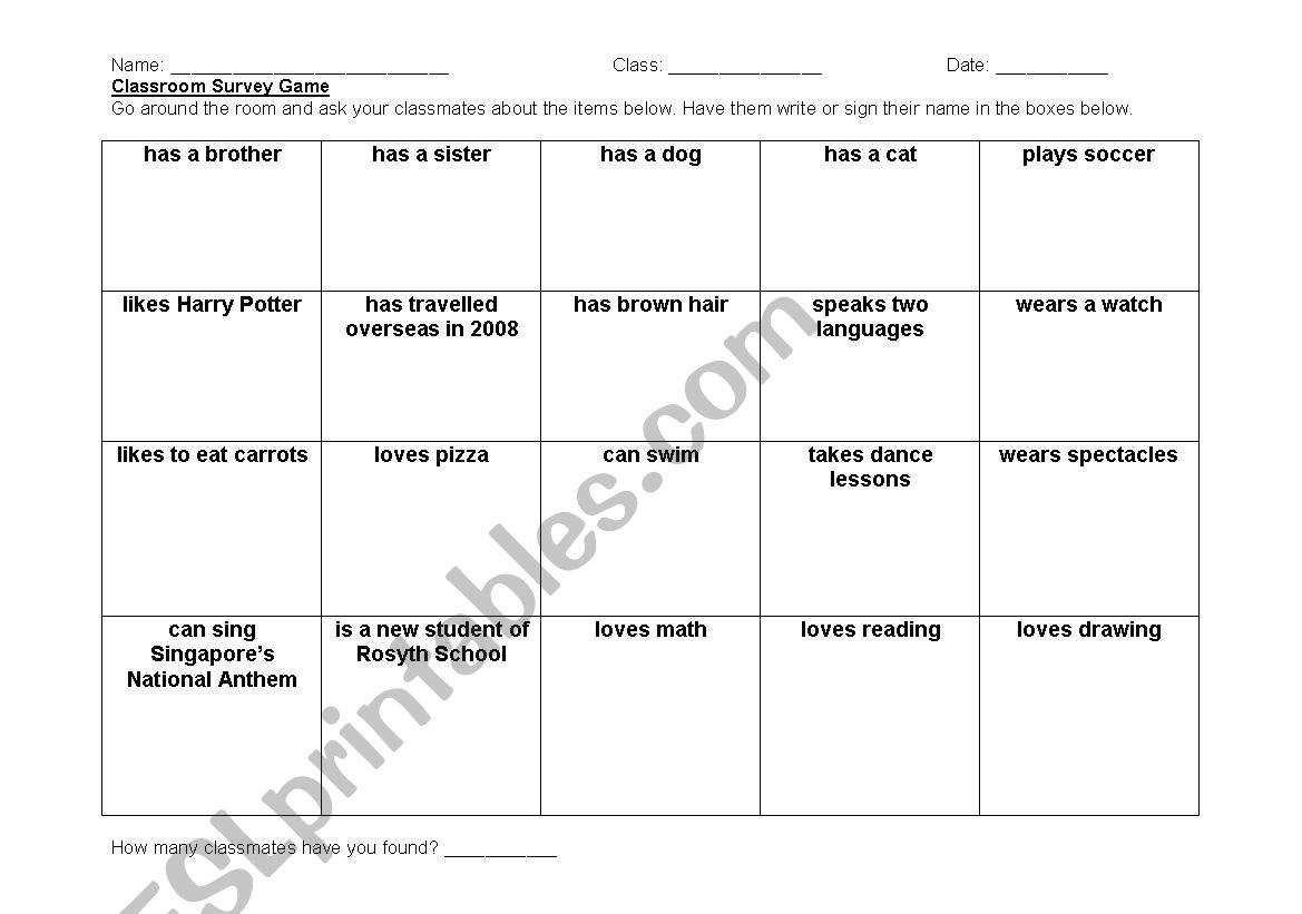 Classroom Survey Game worksheet