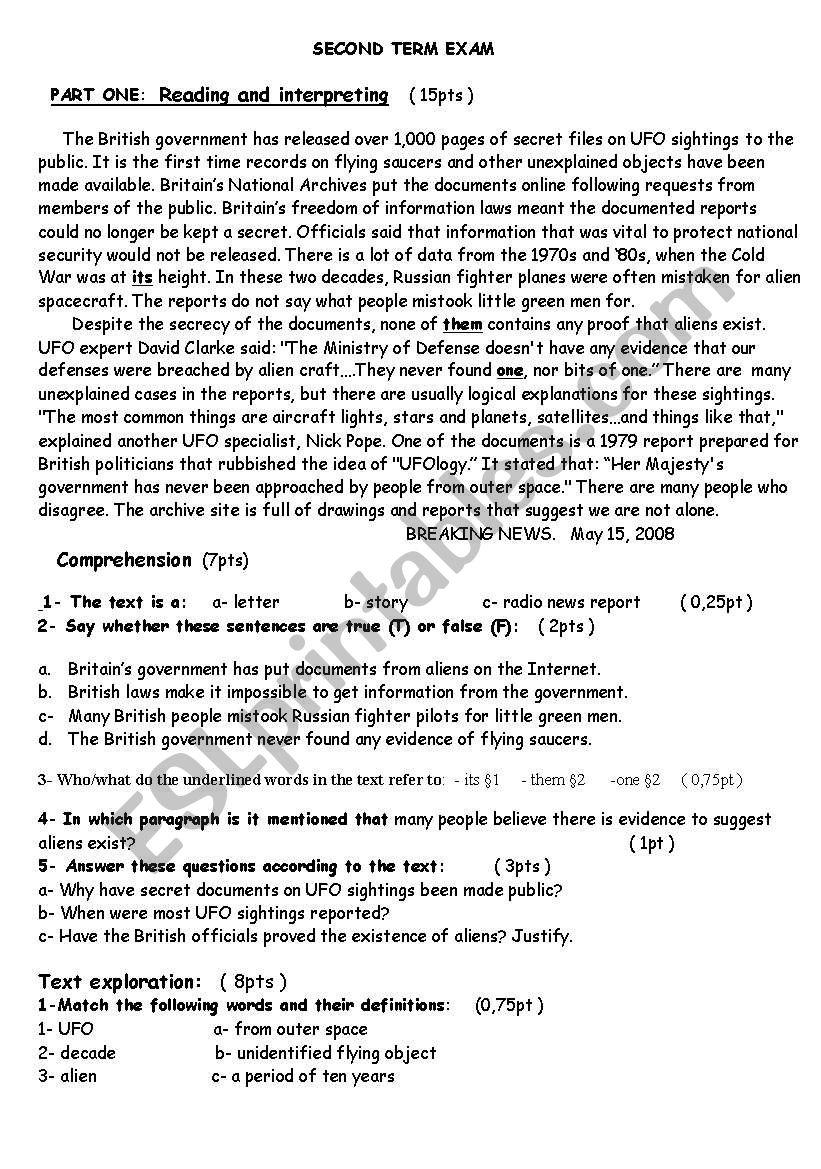 Test :          UFOs worksheet