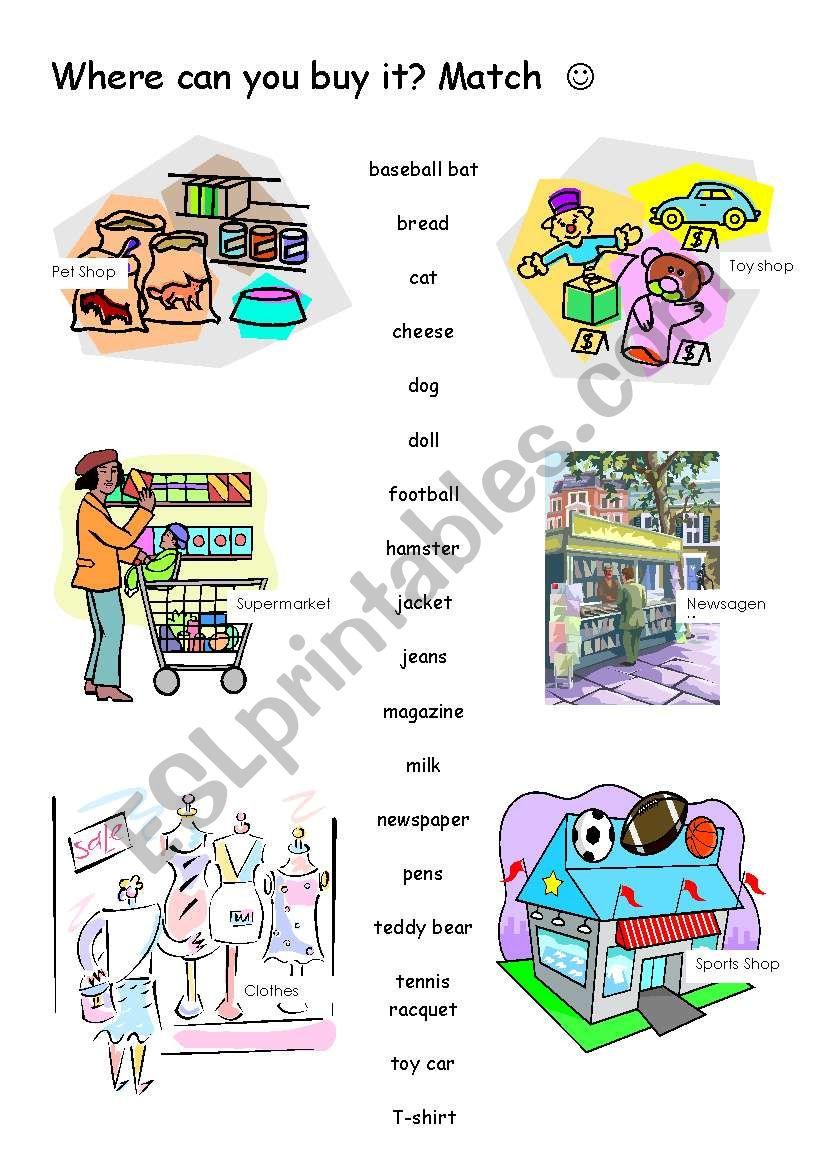 Shops worksheet