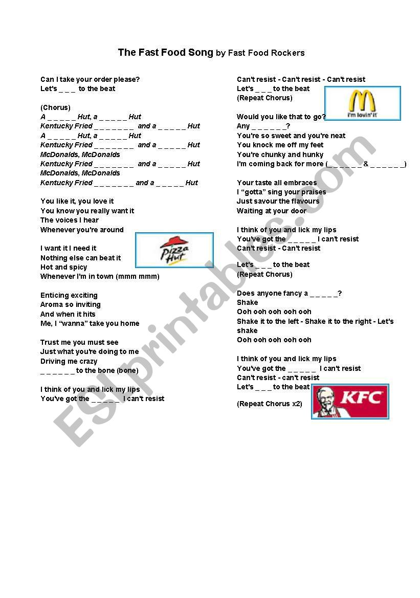 Fast Food song and word search