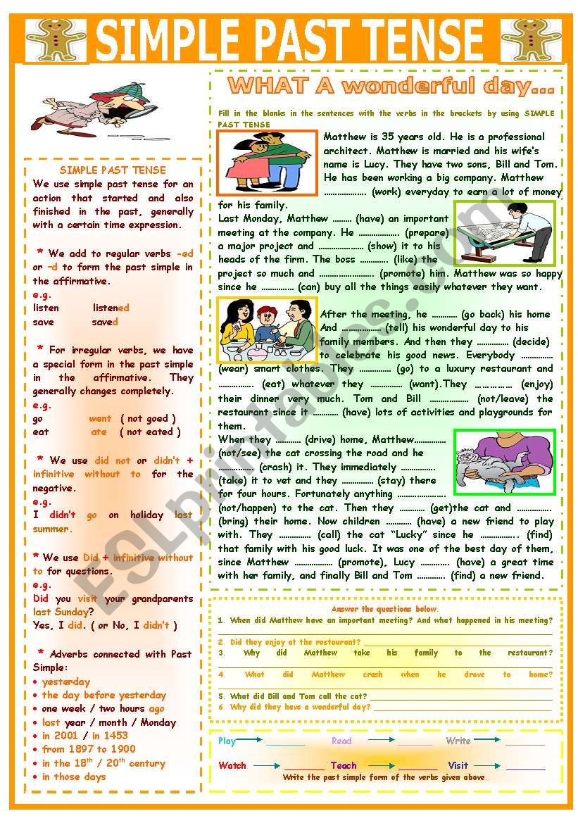 SIMPLE PAST TENSE (WHAT A WONDERFUL DAY...)