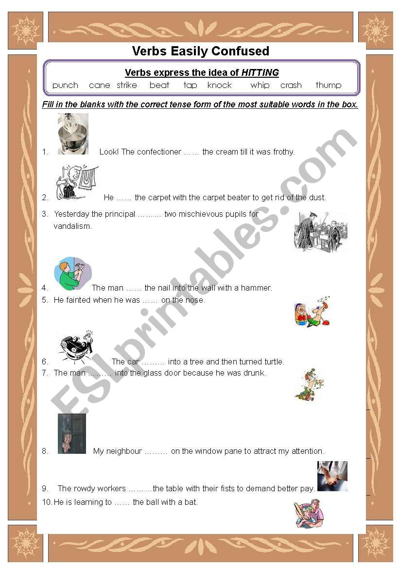 Words easily confused-hitting worksheet