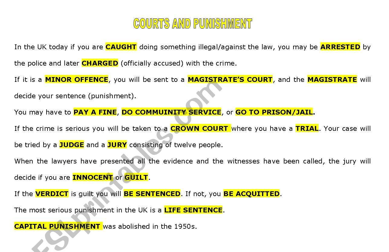 COURTS AND PUNISHMENT worksheet