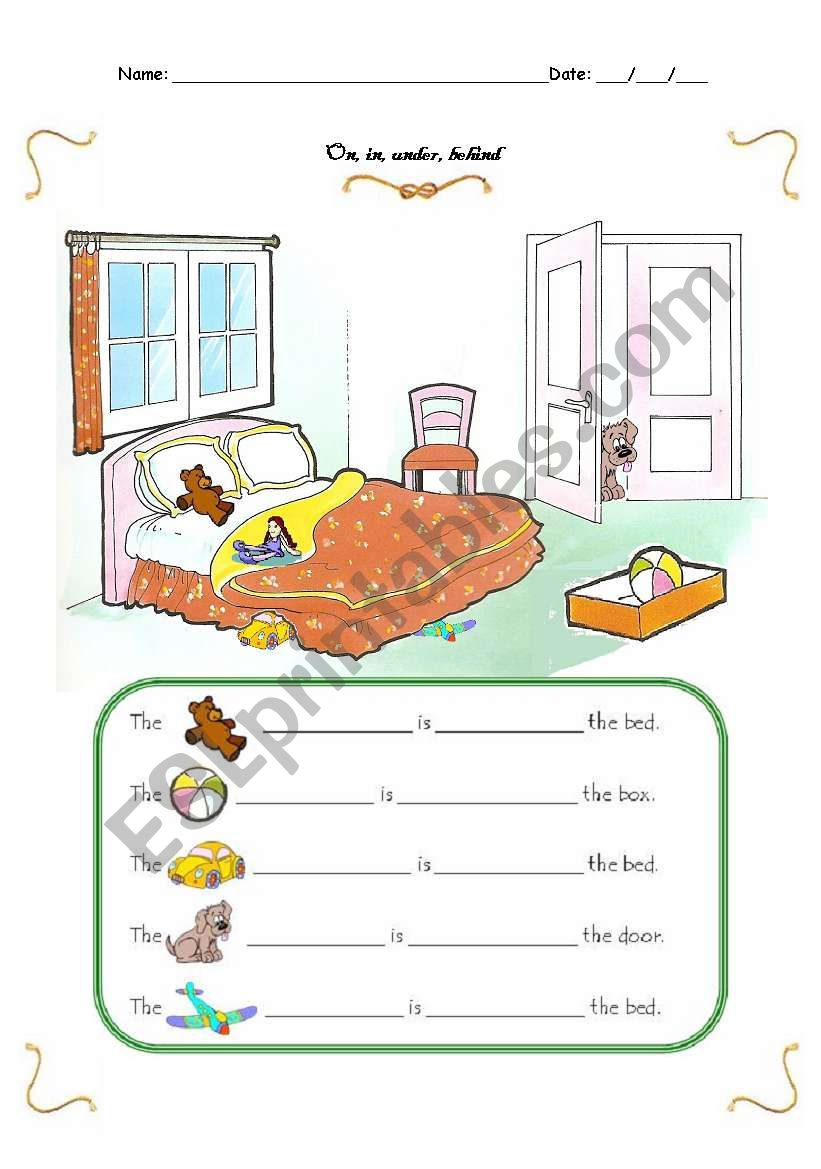 Prepositions of place: on, in, under, behind