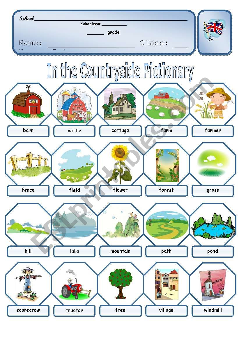 Countryside pictionary worksheet