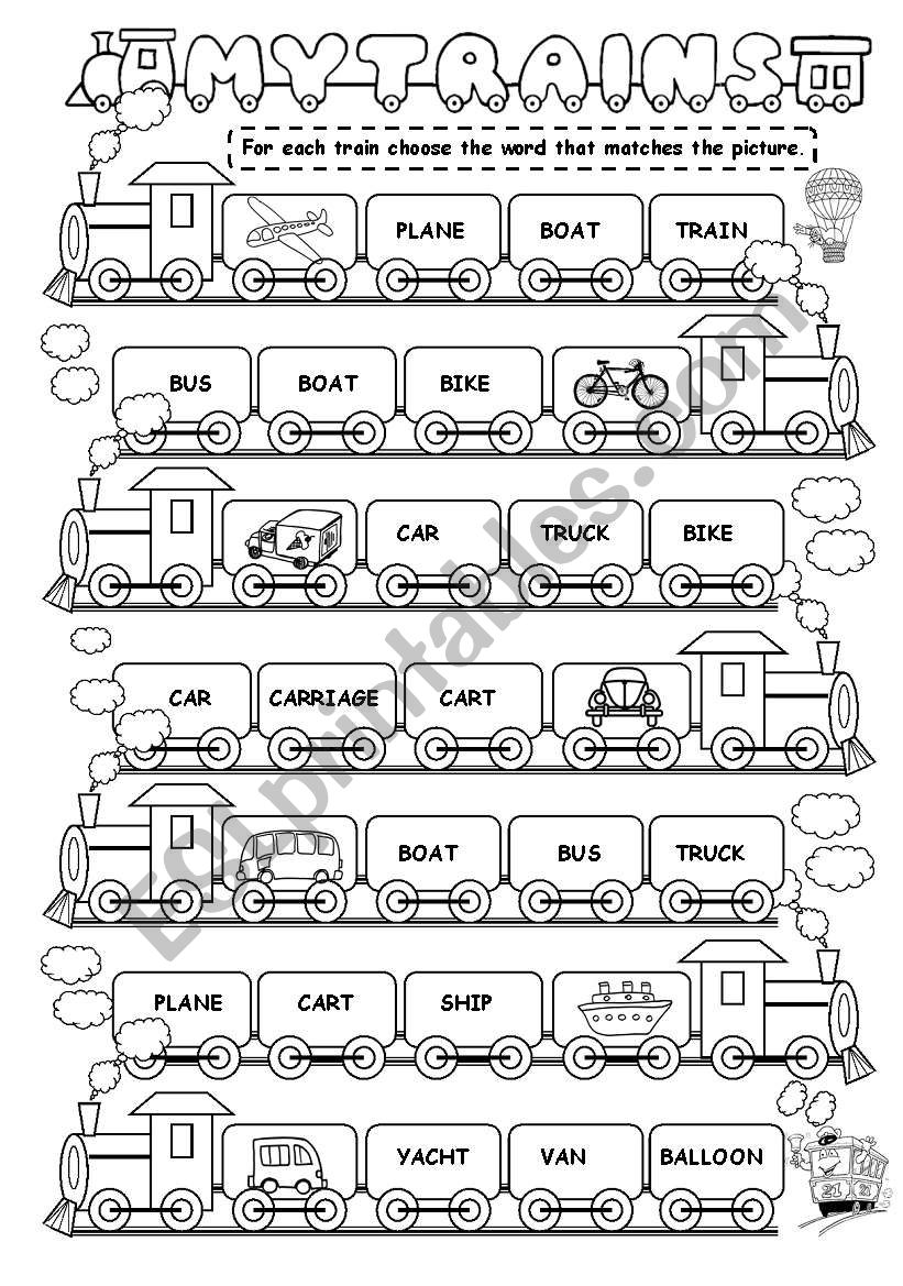 My train (means of transport) worksheet