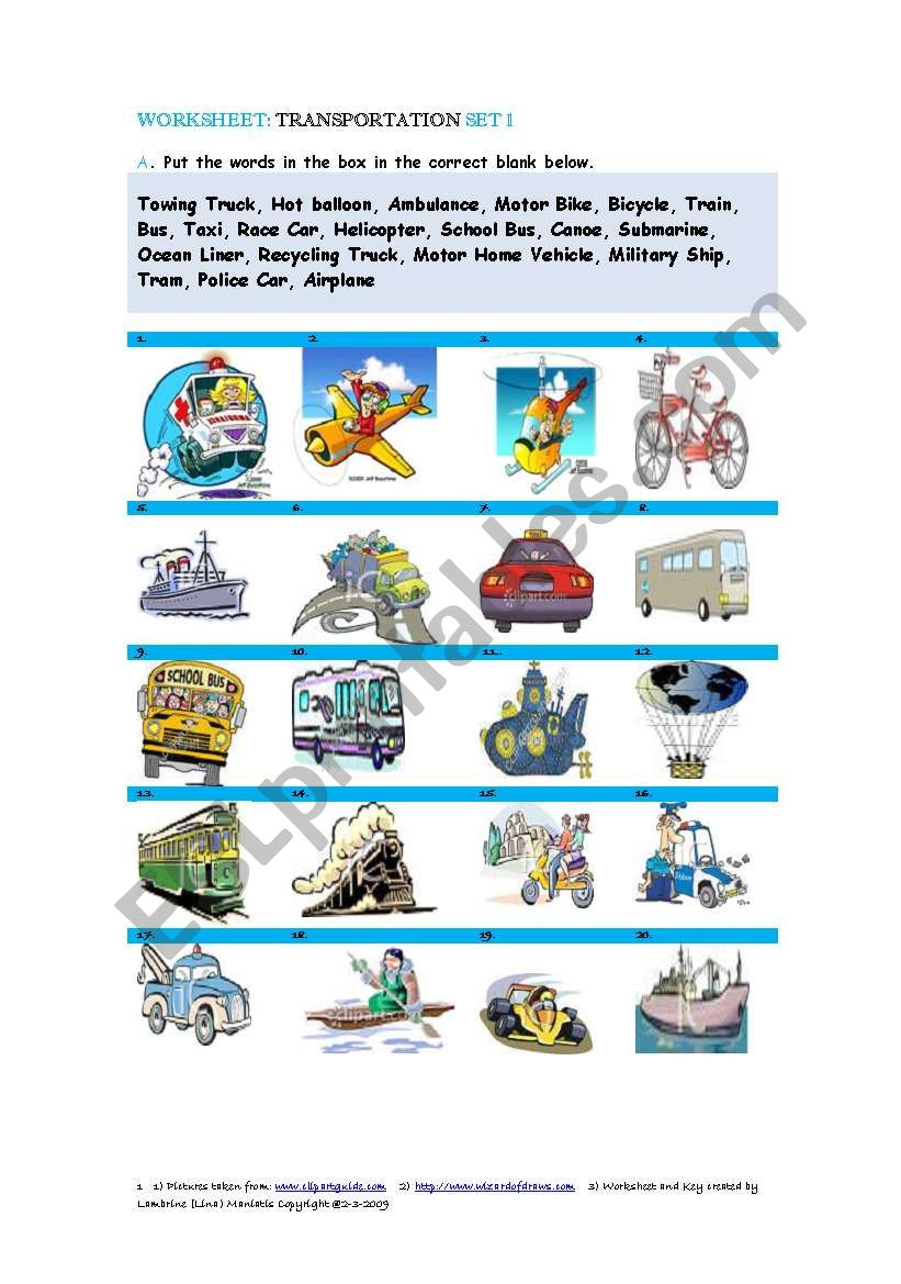 Transportation Set 1 worksheet