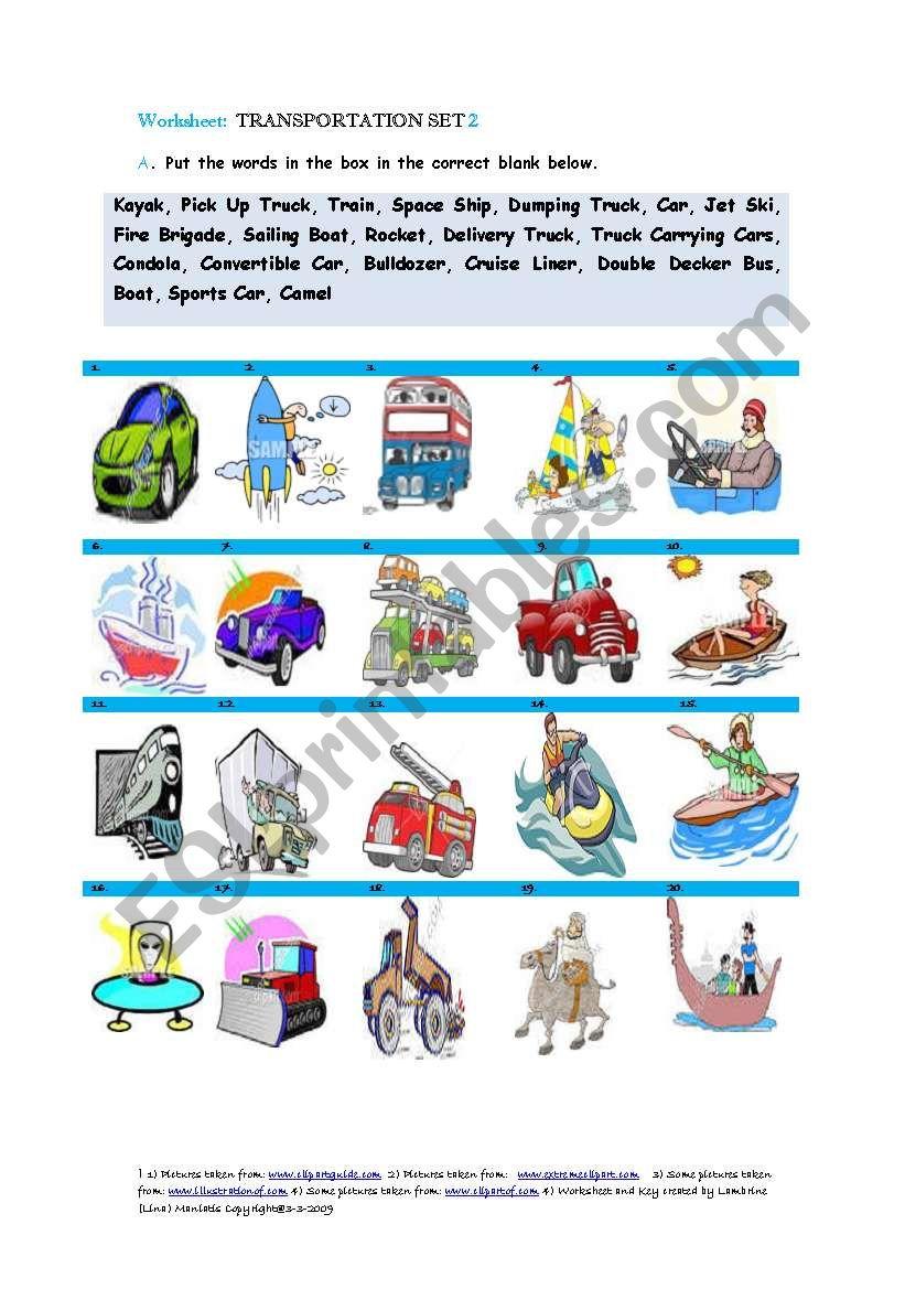 Transportation Set 2 worksheet