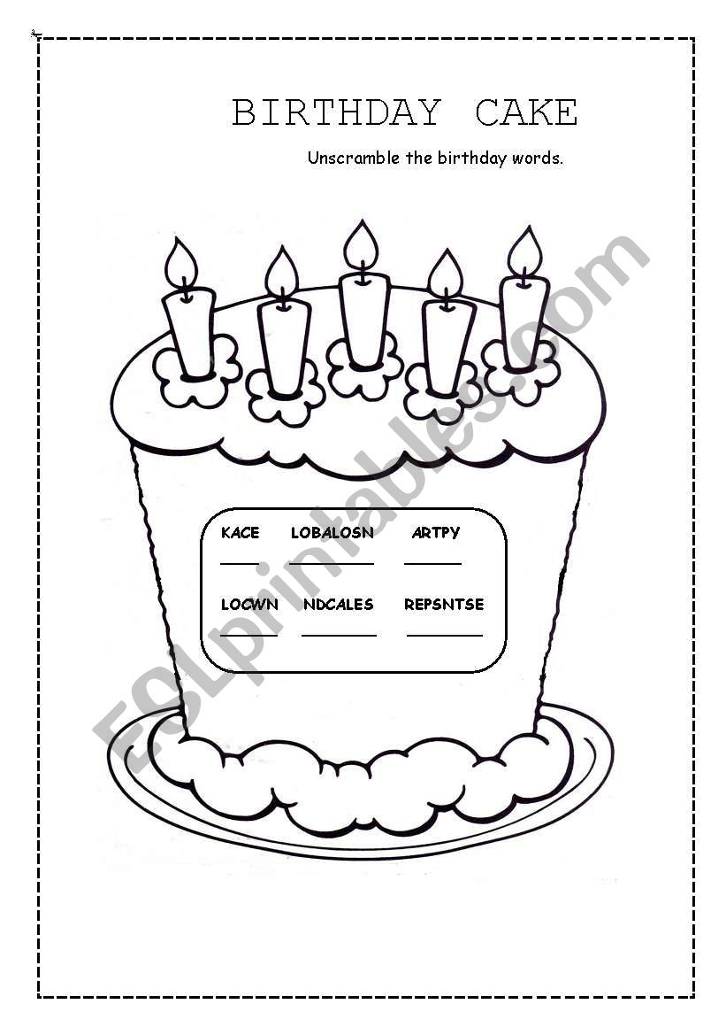 birthday cake esl worksheet by valleygirl. Black Bedroom Furniture Sets. Home Design Ideas