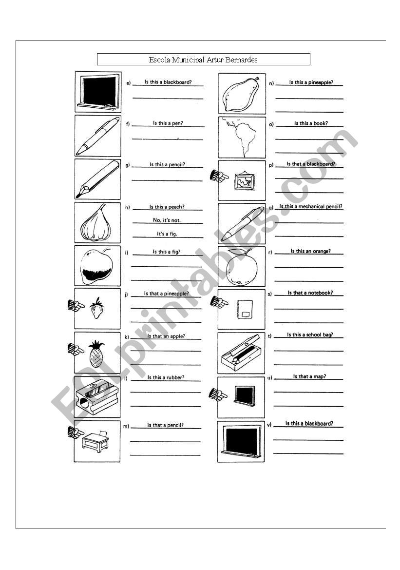 exercises about this /that worksheet