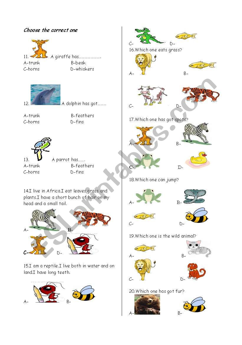 Animals quiz part-2 - ESL worksheet by ex-kanky
