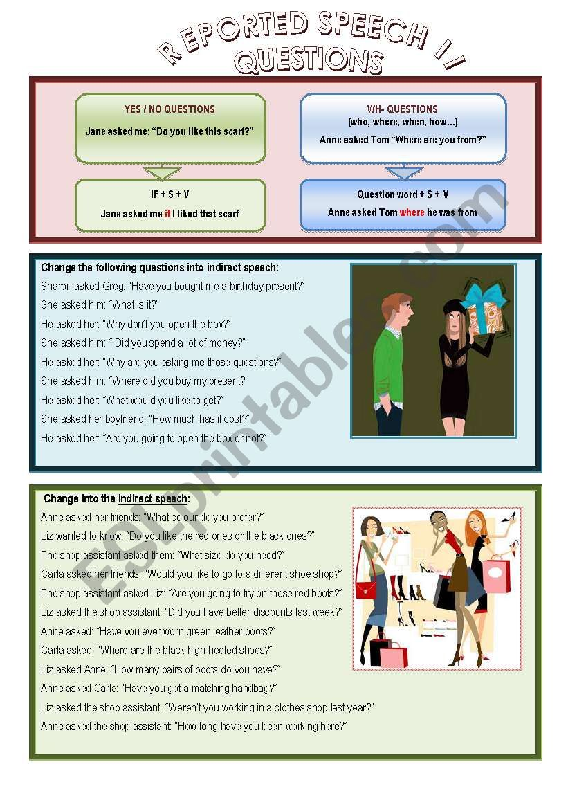 Reported Speech, questions worksheet