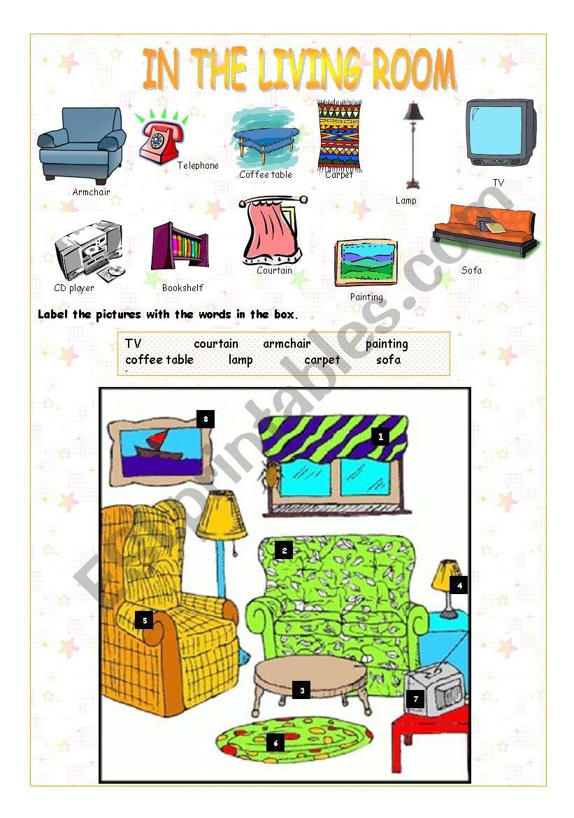 Rooms Worksheet: ESL Worksheet By Stainboy76