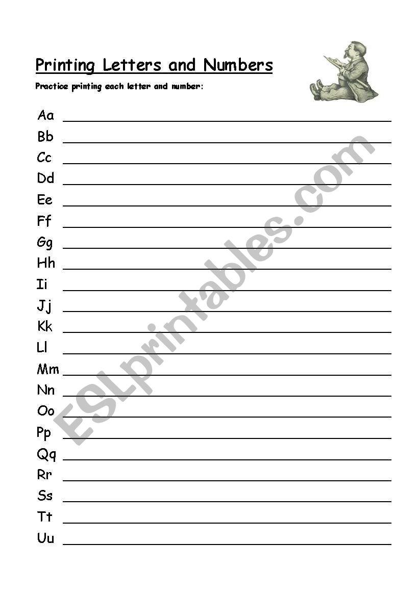 alphabet printing practice worksheet