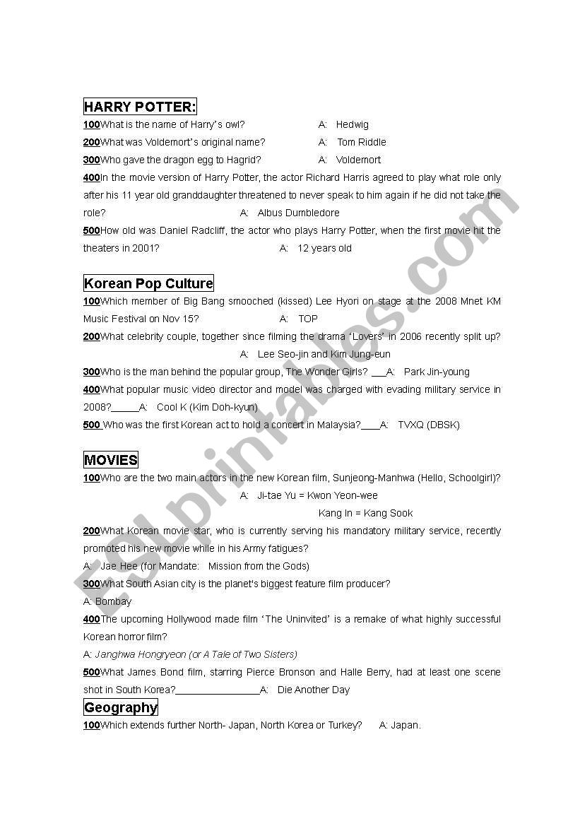 Jeopardy Game 3 worksheet