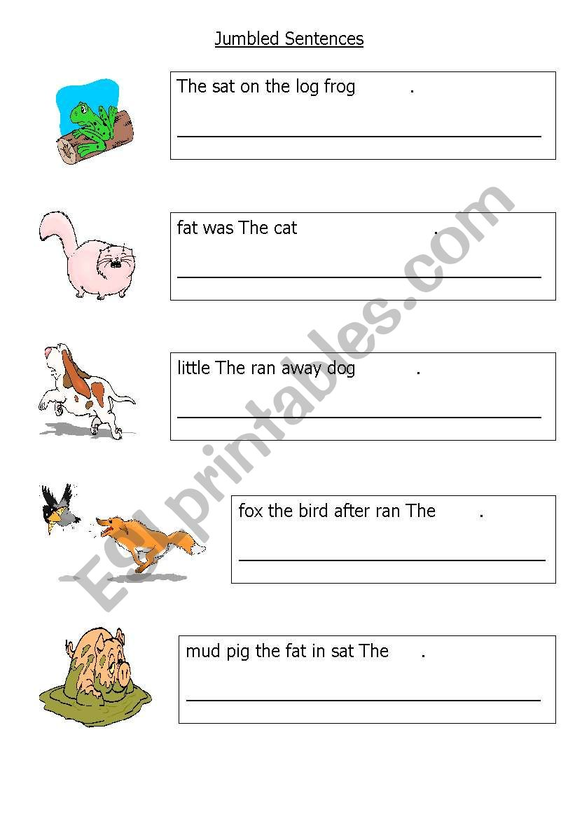 english worksheets  easy jumbled sentences