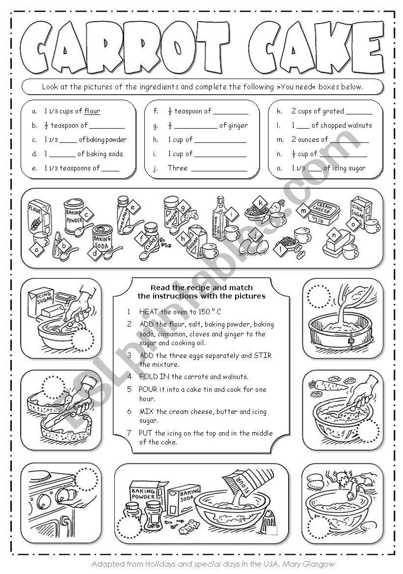Carrot Cake Recipe worksheet