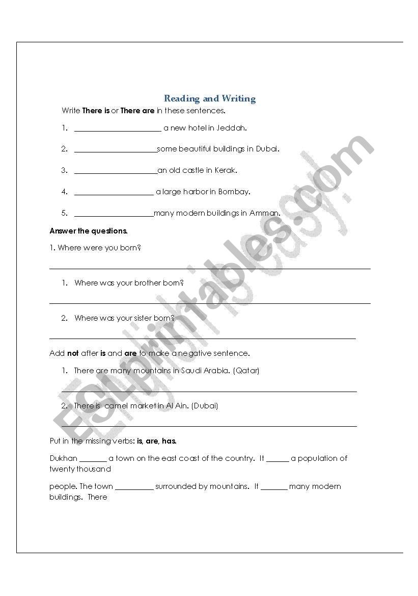 Reading and writing practice worksheet